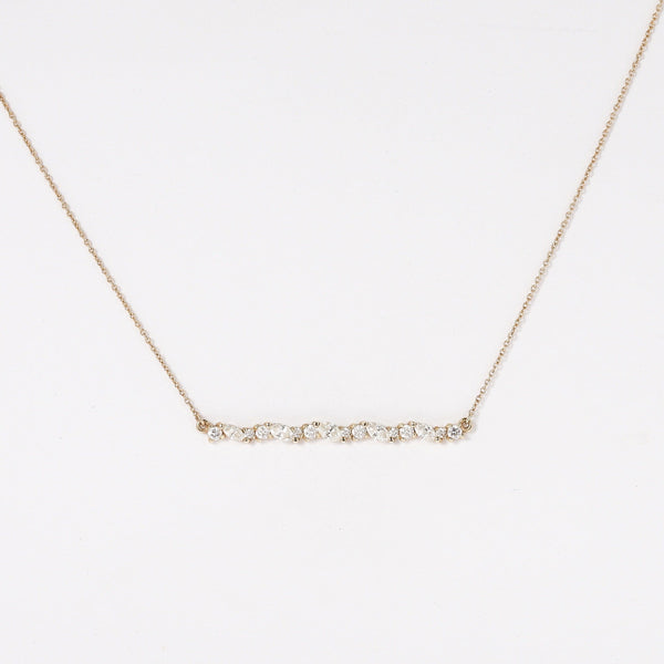Linear Reverie Necklace - 14k Yellow Gold, White Diamond