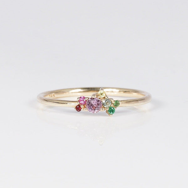 Mini Spirtuelle Cluster Ring - 14k Yellow Gold, Sapphires