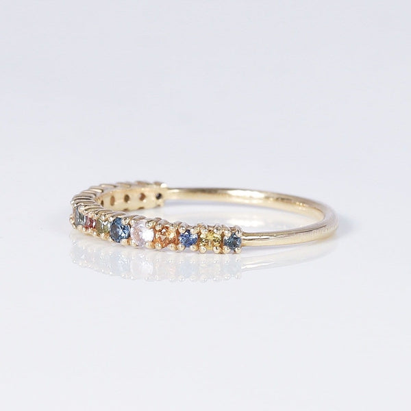 universal love Ring - 14k Yellow Gold, multi-coloured sapphires
