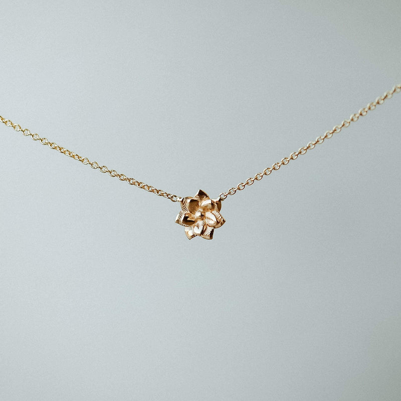 Dahlia Flower Necklace - 14k Yellow Gold, LIMITED EDITION