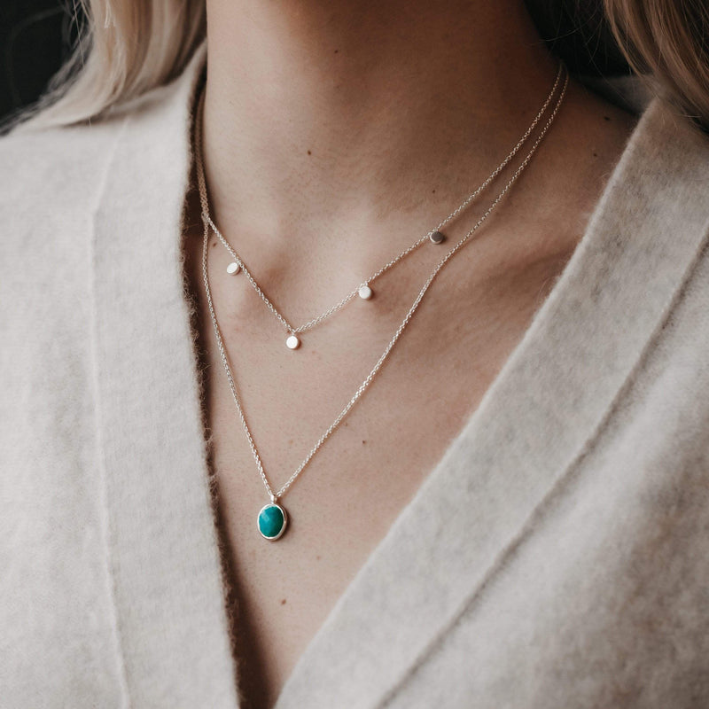Amazonite Pendant Necklace - Sterling Silver