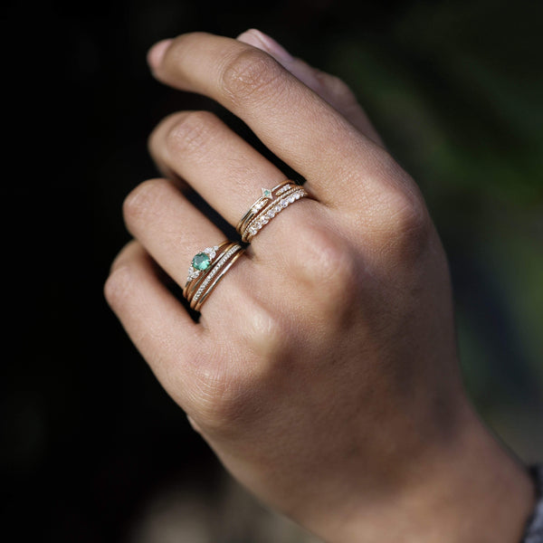 Endless Evergreen Ring - 14k Yellow Gold, Emerald