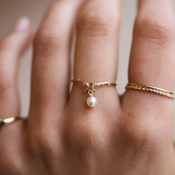 Woodland Pearl Ring on body}