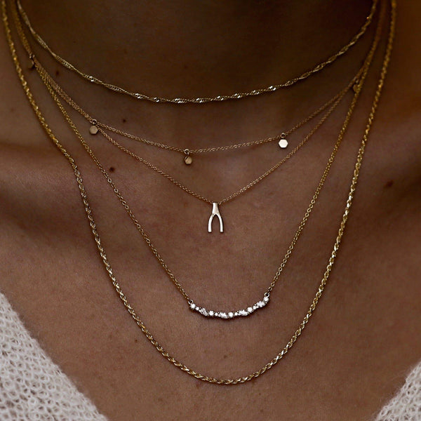 Everyday Little Wishbone Necklace - 14k Yellow Gold