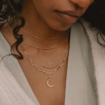 crescent charm + boldly inseparable necklace duo on body}