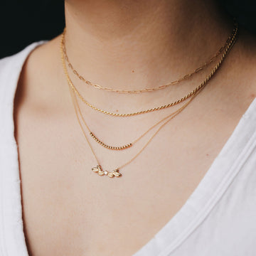 resilience diamond leaf necklace on body}