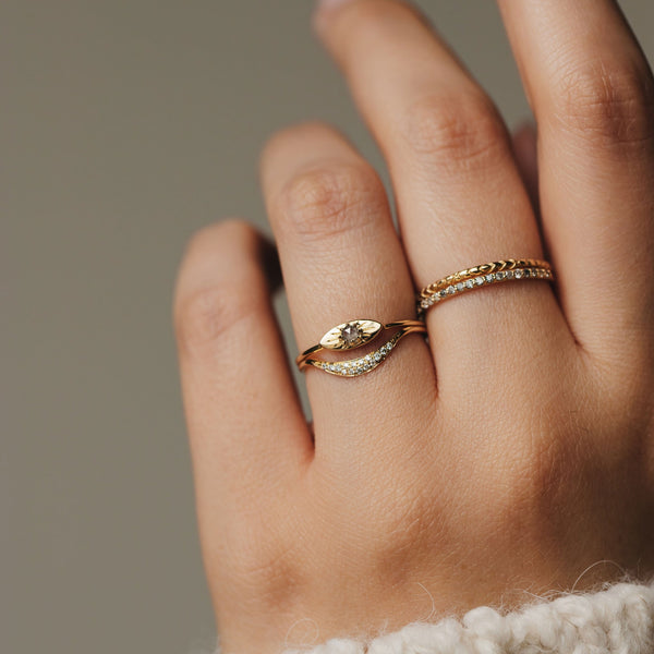 Theia Ring - 14k Yellow Gold, Grey Diamond