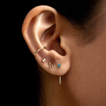 Turquoise Inkling Long L Shaped Post Earring on body}