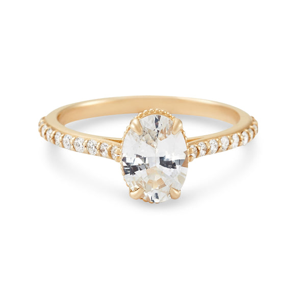 Mon Coeur, Mon Âme - 14k Yellow Gold, White Sapphire, White Diamond