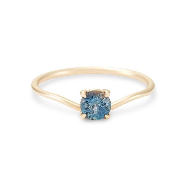 New Moon One Of A Kind - 14k Yellow Gold, Ocean Green Sapphire Ring