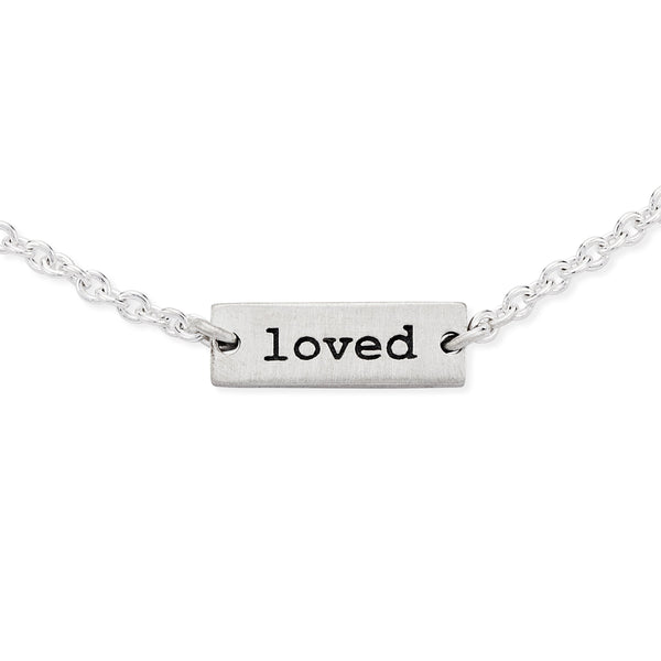Tiny Loved Plate Bracelet - Sterling Silver