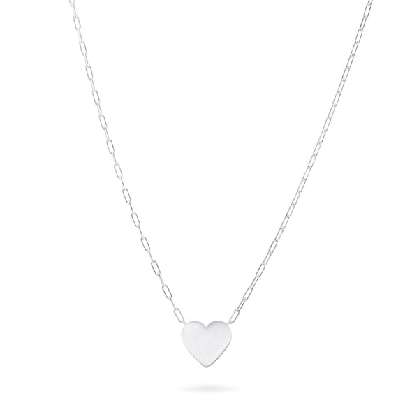 Brushed Heart on Link Chain Necklace - Sterling Silver