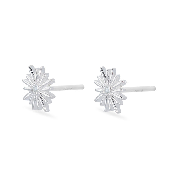 Sunburst with White Topaz Earrings - Sterling Silver
