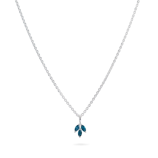 Three Leaf Marquis London Blue Topaz Necklace - Sterling Silver