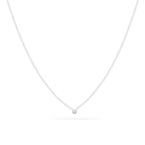 Very Tiny Solitaire Necklace - Sterling Silver, White Sapphire