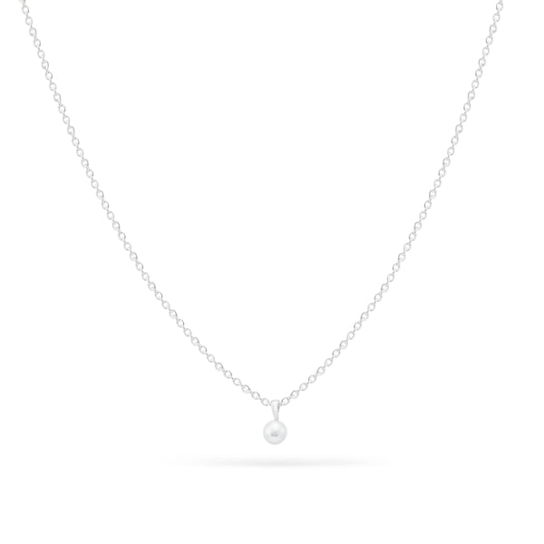 Tiny Freshwater Pearl Necklace - Sterling Silver, Pearl