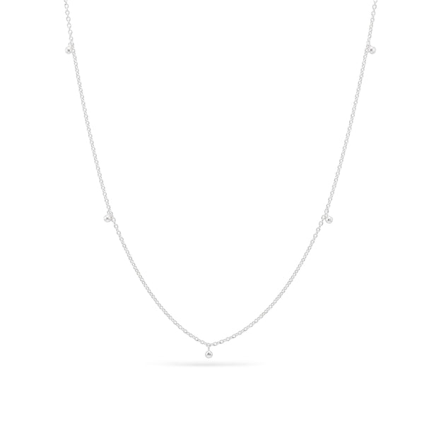 dainty everyday tiny ball station Necklace - Sterling Silver