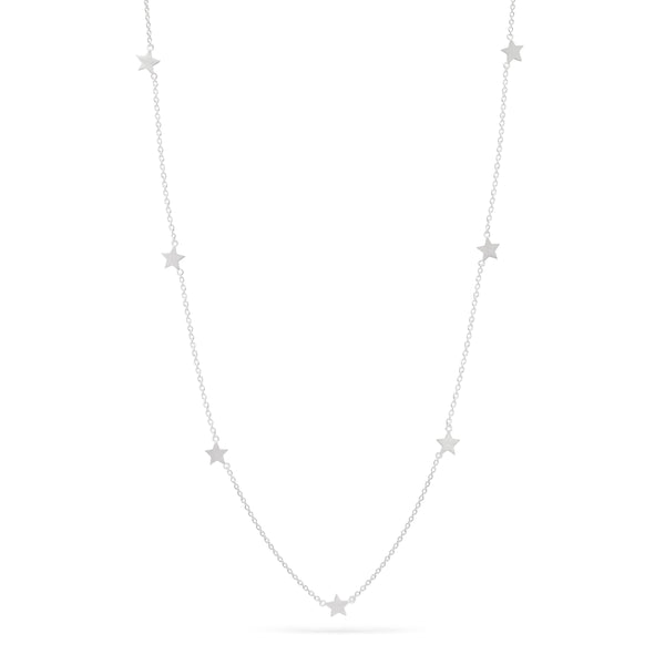 Short Star Station Necklace - Sterling Silver