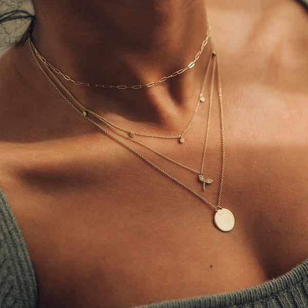 Larger Imprint Forest Necklace - 14k Yellow Gold, Engravable