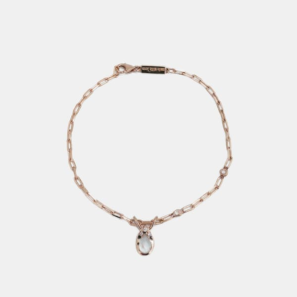 Pear Shape Moonstone Bracelet - 14K Rose Gold, Rainbow Moonstone, White Diamond