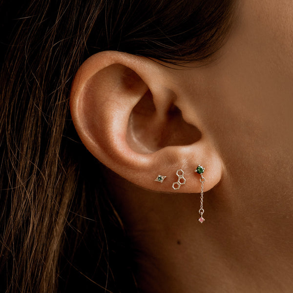 Limited Edition Spirituelle Drop Earring - 14k Yellow Gold, Green and Pink Sapphire