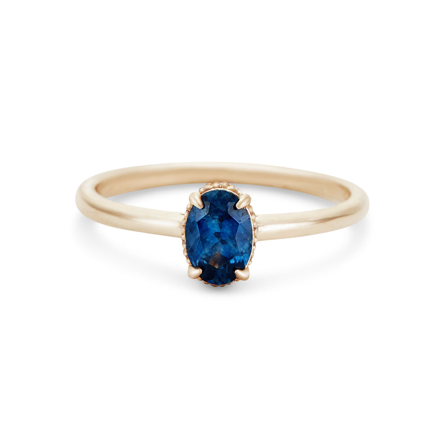 royal blue sapphire engagement ring, 14k yellow gold