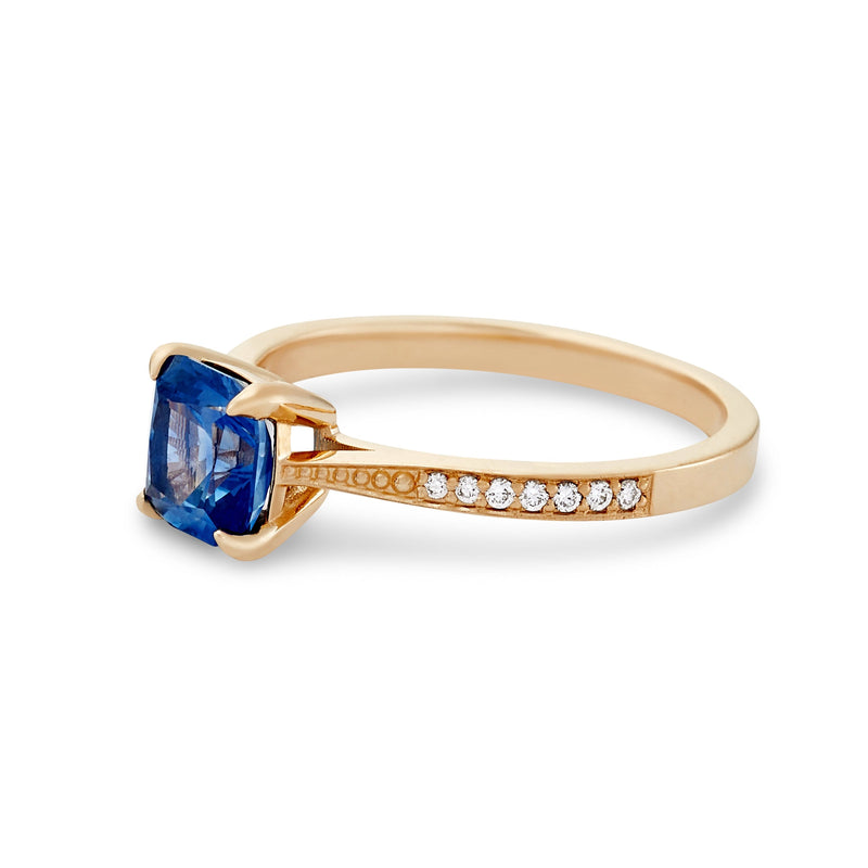 Days of Affection One of a Kind - 14k Yellow Gold, Cerulean Blue Artist Cut Sapphire Ring