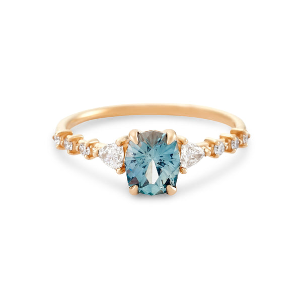Eternal Harmony One of a Kind - 14k Yellow Gold, Seafoam Green Artist Cut Sapphire Ring