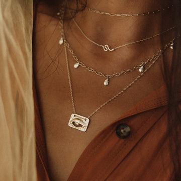 eye of protection plate pendant necklace on body}