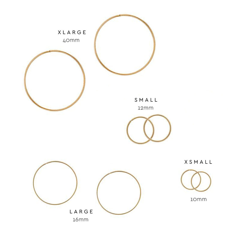 Every Day Hoops Sizes Yellow Gold