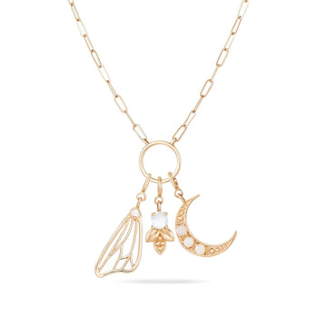 crescent, bee, and dream keeper charm + inseparable essence necklace duo lightbox photo