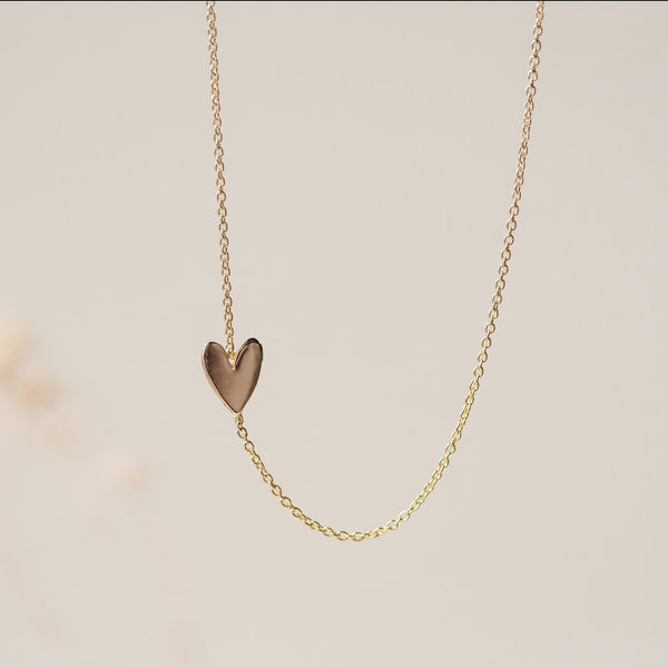 Everyday Little Lovely Heart Necklace - 14k Yellow Gold