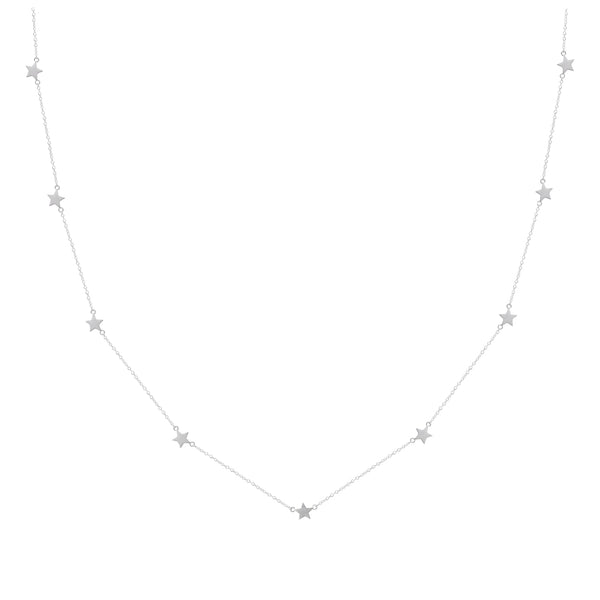 long star station necklace sterling silver