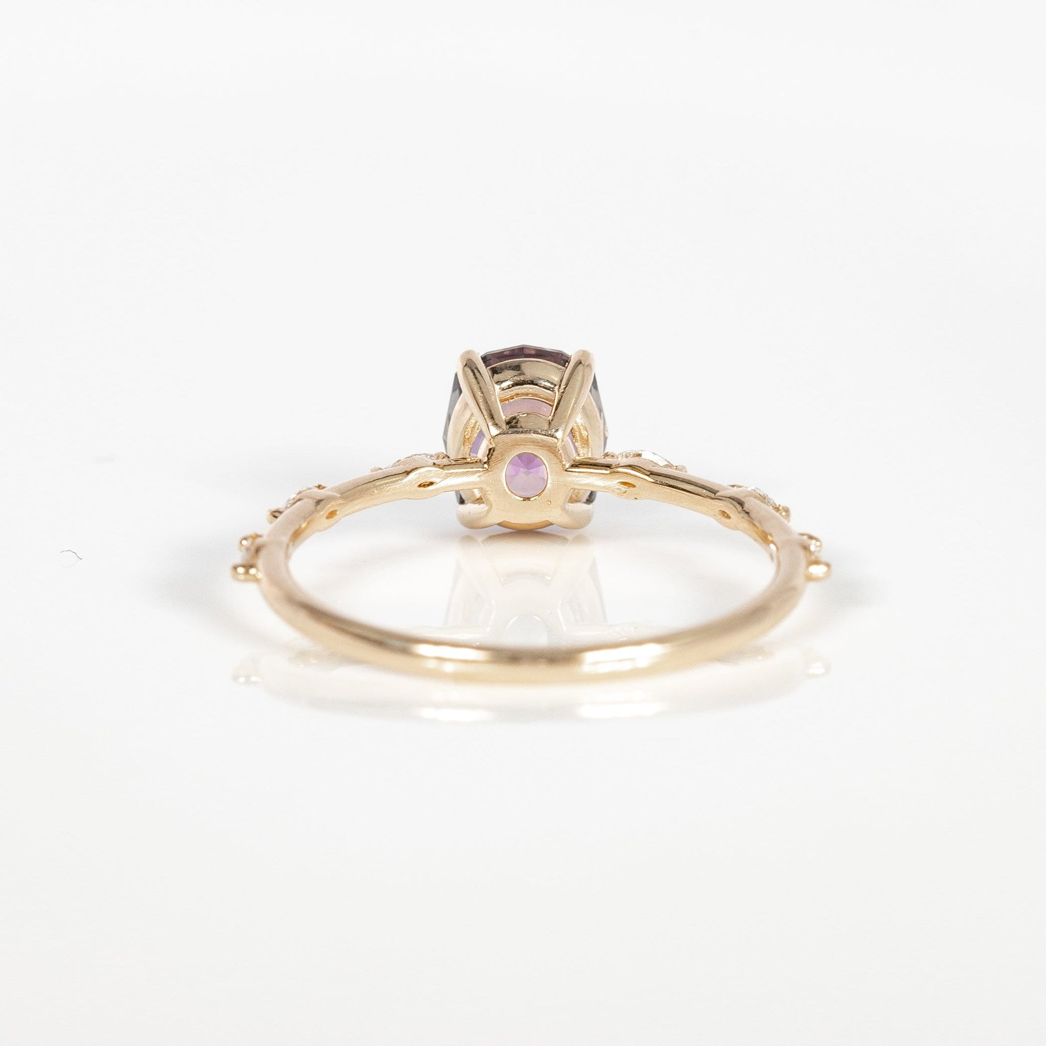 One of a Kind Delight Reverie Ring - 14k Yellow Gold, Pink Oval Sapphire, White Diamond