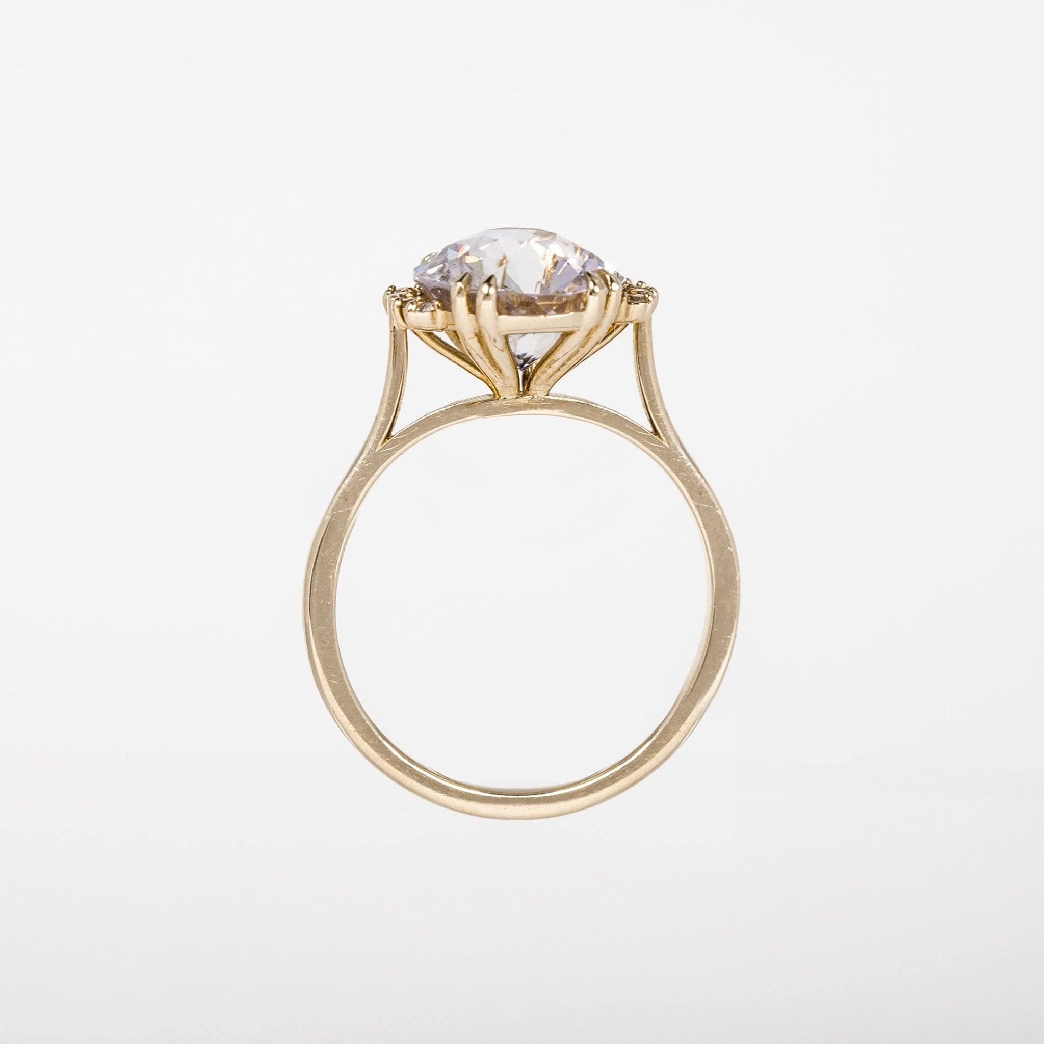 One of A Kind Ocean Mist Ring - 14k Yellow Gold, Pink Sapphire, White Diamond