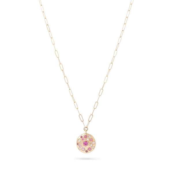 Tie Dye Moon Child Medallion Necklace - 14K Yellow Gold, Pink Sapphire, 20""
