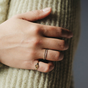 on body image of 14k signet ring with stacking rings on ring finger