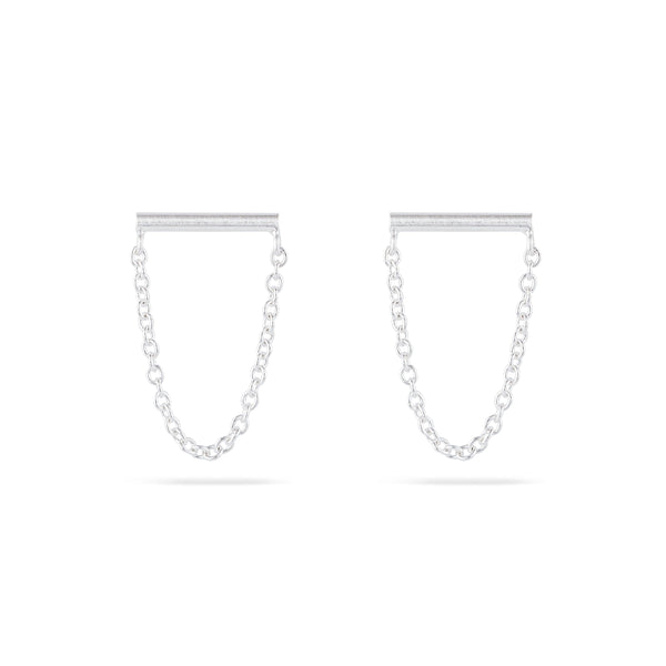 Bar Stud with Hanging Chain - Sterling Silver