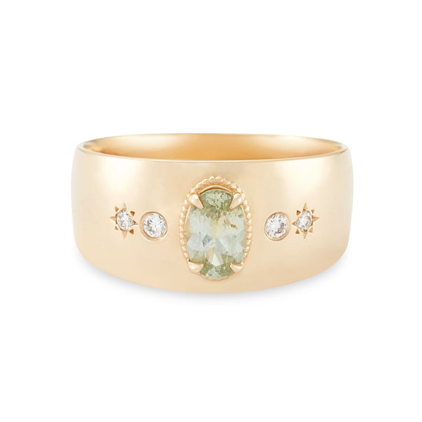 Super Moon One Of A Kind - 14k Yellow Gold, Sea Foam Green Sapphire