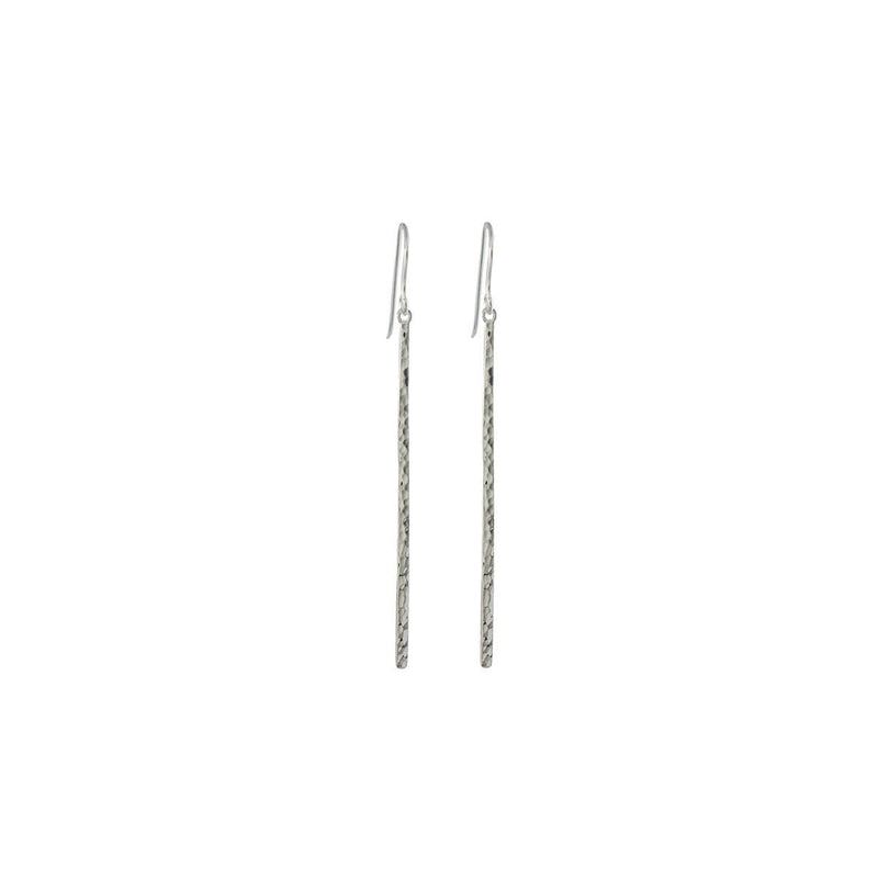 Sterling Silver Hammered Bar Drop Earrings