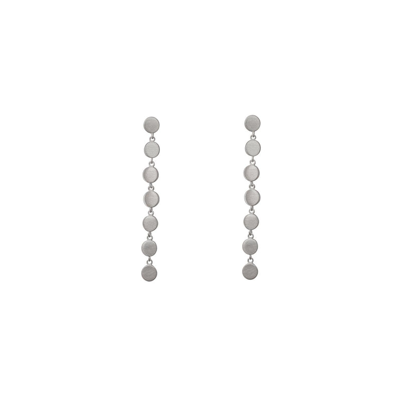 Sterling Silver Row of 7 Dots Earrings