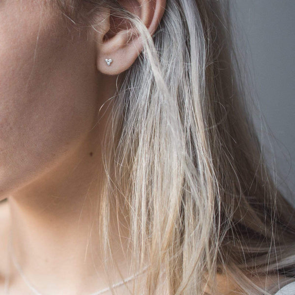 Sterling Silver Tiny 3 Disc Earrings