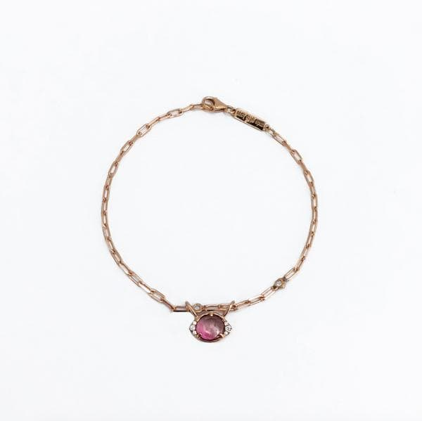 Eye Shape Tourmaline Bracelet - 14K Rose Gold, Tourmaline, White Diamond