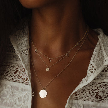 tree of life little coin pendant necklace on body}