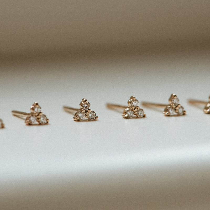 Tripod Diamond Earring - 14k Yellow Gold, White Diamond
