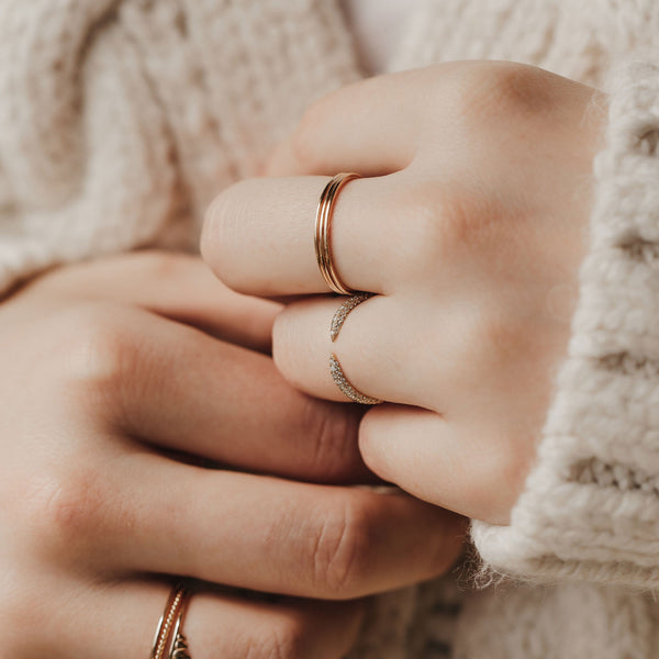 Twin Flame Ring - 14k Yellow Gold, White Diamond