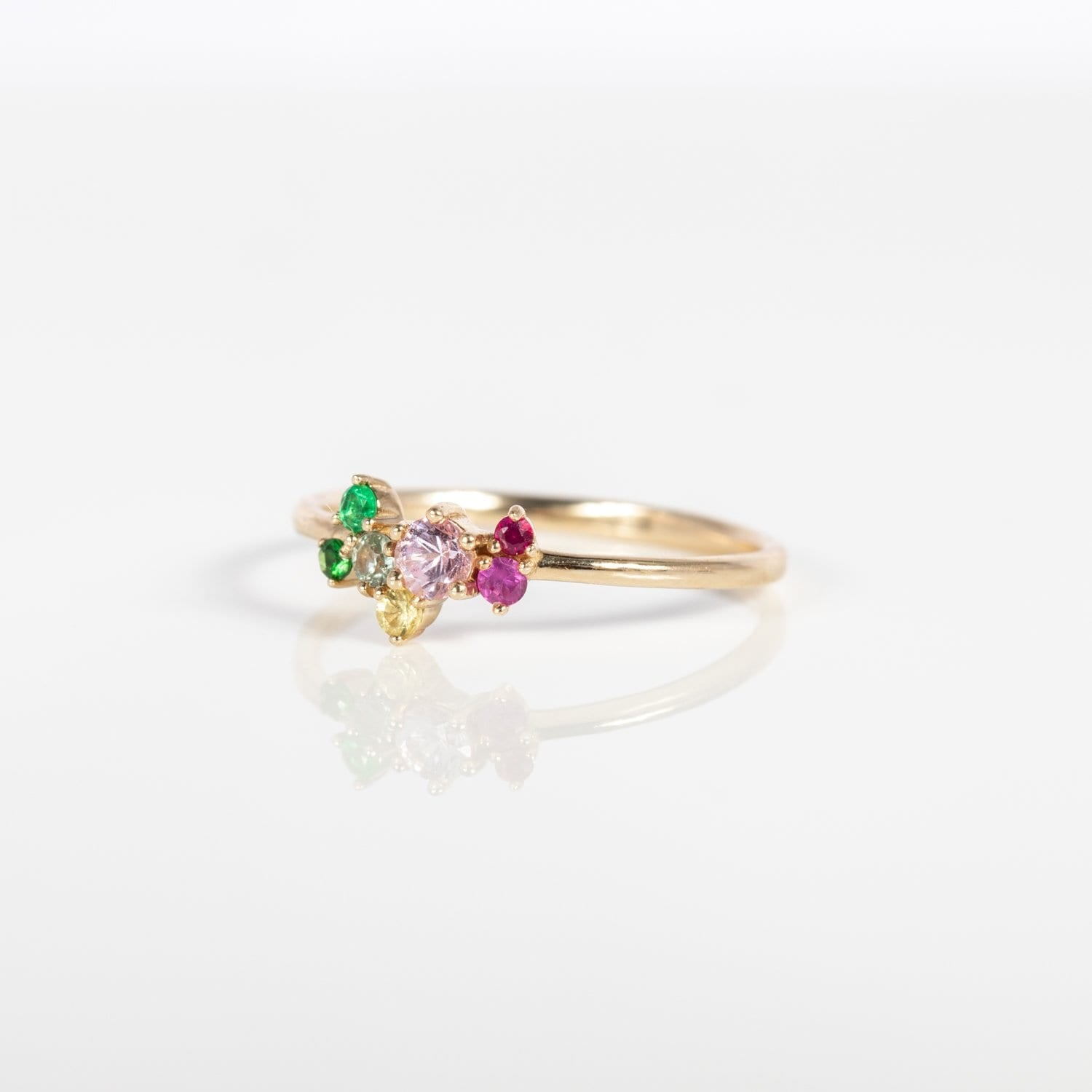 Spirituelle Multi Colour Cluster Ring - 14k Yellow Gold, Garnet, Emerald, Sapphire, Ruby