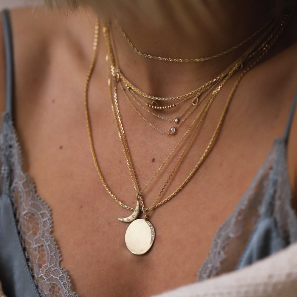 Medallion Necklace - 14k Rose Gold, White Diamonds