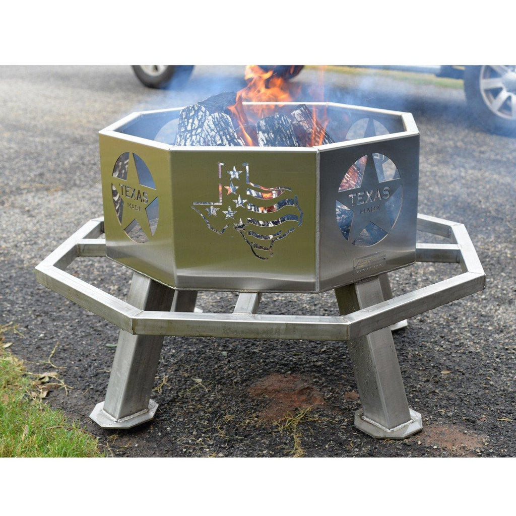 Stainless Steel 28 Quot Texas Theme Fire Pit Bbq Pit For