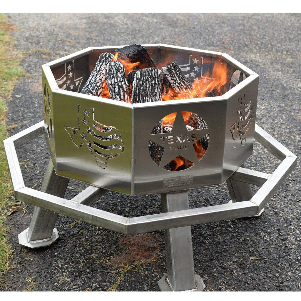 "Stainless 28"" Texas Theme Fire Pit"